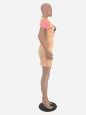 Contrast Color Letter Lips Printed Short Sleeve Dress