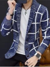 Casual Plaid Knitted Mens Shawl Cardigan