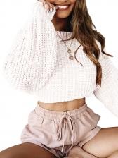 Minimalist Lantern Sleeve Women Pullover Sweater