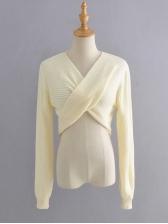 Trendy Crossed Design V Neck Cropped Sweater