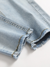 Summer Solid Color Ripped Jeans For Men
