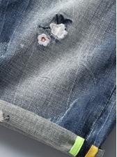Summer Embroidery Mens Denim Shorts