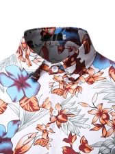 Contrast Color Printed Casual Shirts For Men