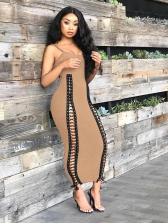 Night Club Bandage Eyelet Womens Black Maxi Dress
