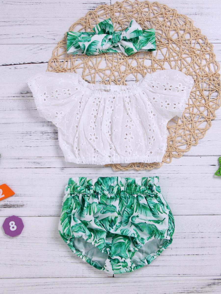 Summer Off Shoulder Lace Leaves Printed Baby Set