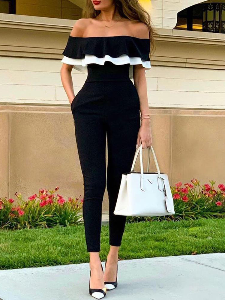 Boat Neck Contrast Color Ruffles Sleeve Jumpsuit