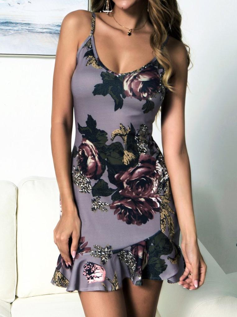 V Neck Printed Ruffled Hem Sleeveless Dress