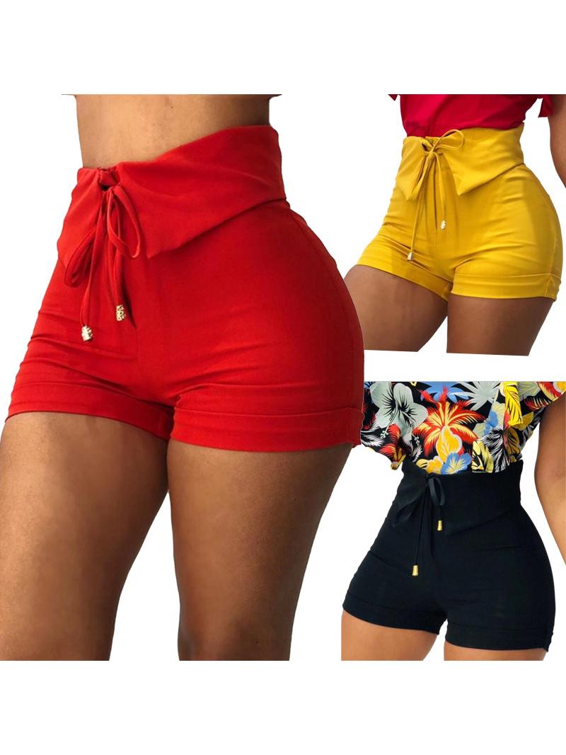 Summer Solid High Waist Hot Pants