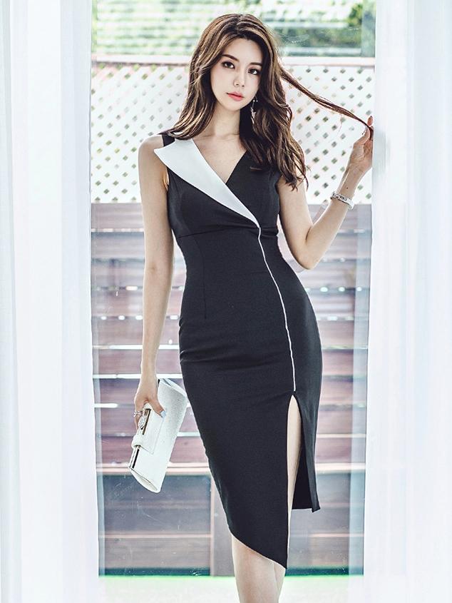 Graceful Contrast Color Split Sleeveless Dresses
