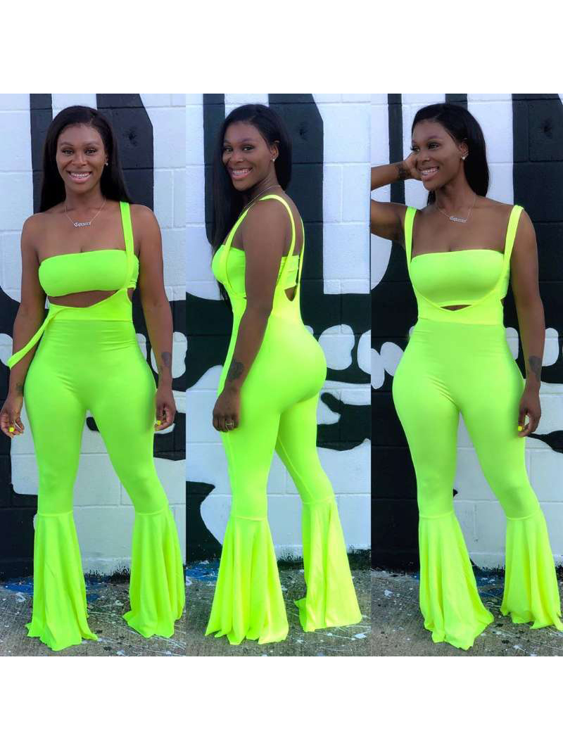Bright Color Sleeveless 2 Pieces Flare Pants Sets