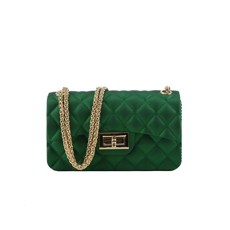 Twist Lock Mini Rhombus Bag With Chain