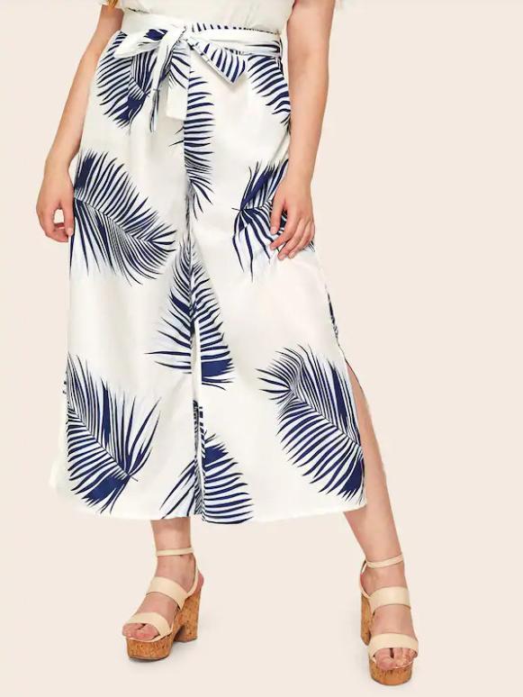 Leaf Printing Tie-Wrap Split Hem Wide Legs Pants