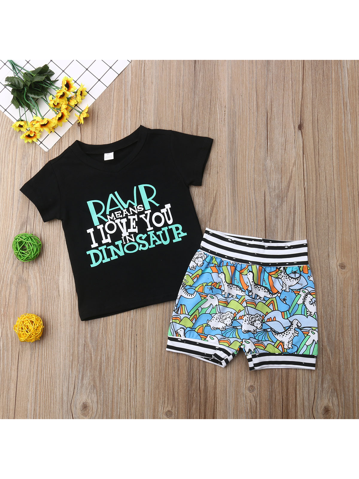 Fashion Letter Printed Short Sleeve Baby Boy Clothes