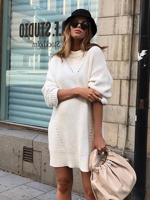 Modern Long Sleeve Solid Knitting Dresses