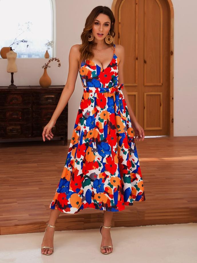Sexy V Neck Printed Sleeveless Summer Dress