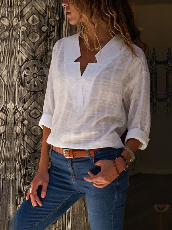 V Neck Long Sleeve Shirt For Women