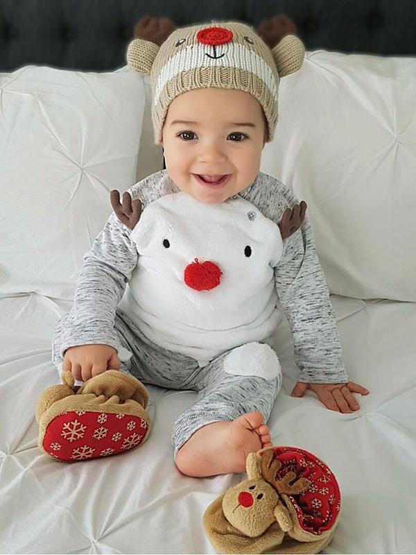 Cute Christmas Reindeer Long Sleeve Boy Clothing Sets