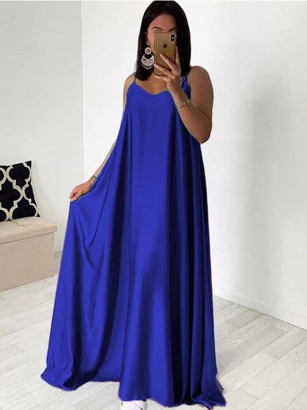 Euro V Neck Spaghetti Strap Blue Vacation Maxi Dress