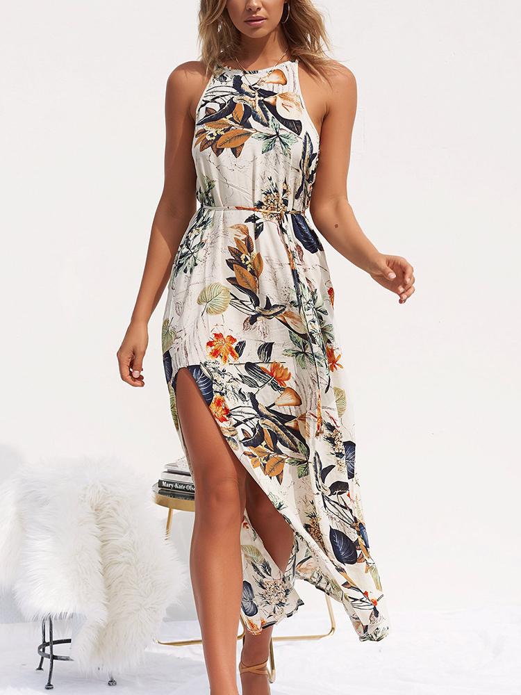 Beach Printed Sleeveless Maxi Dress