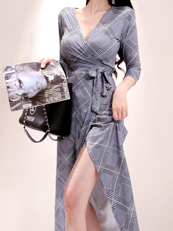 Geometric Print Tie Wrap Long Sleeve Maxi Dress