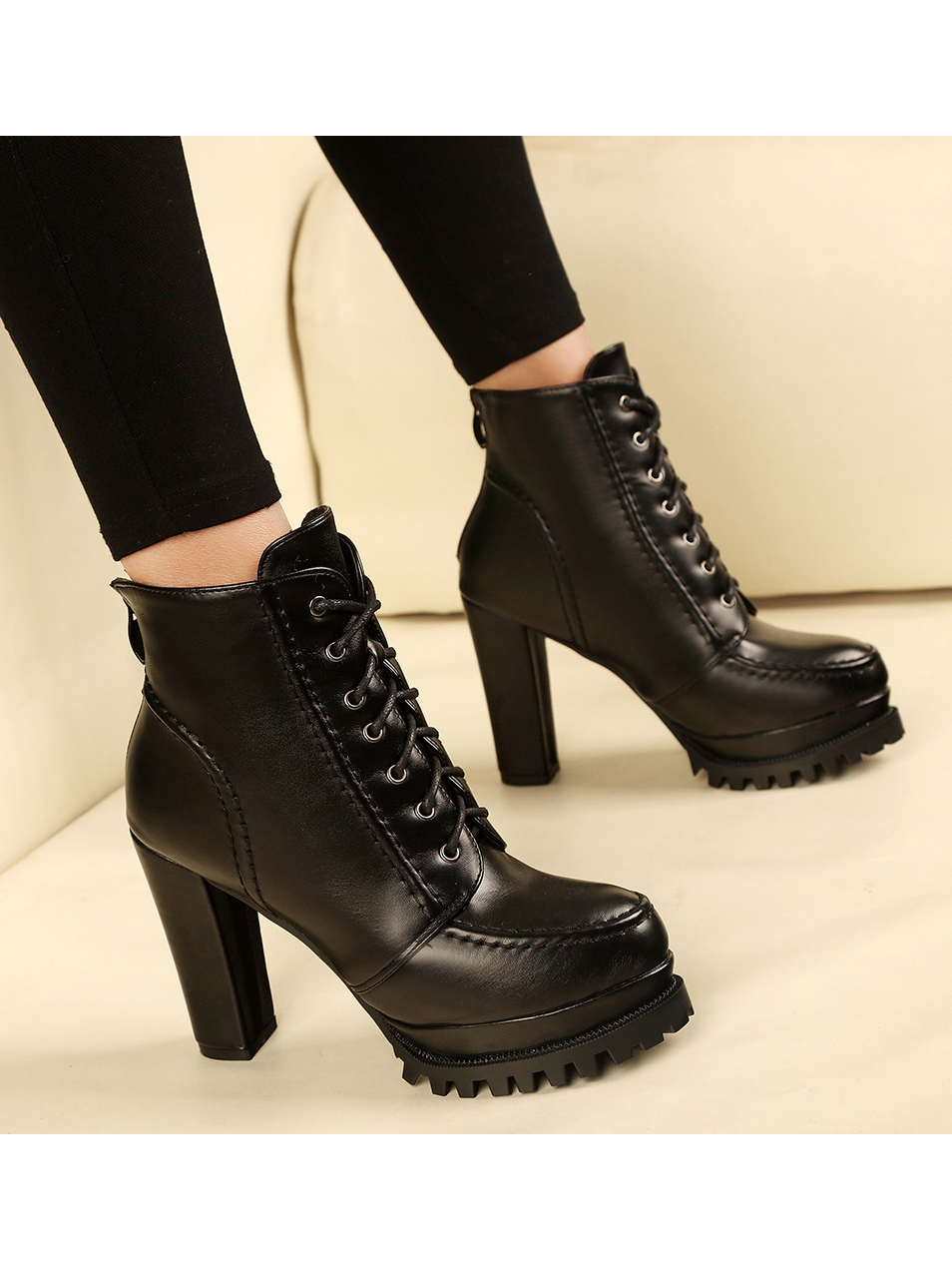 Fashion Platform Chunky Ankle Martin Boots For Women