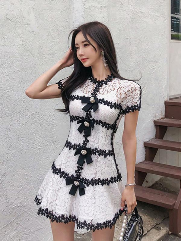 Stylish Contrast Color Lace Short Sleeve Dress
