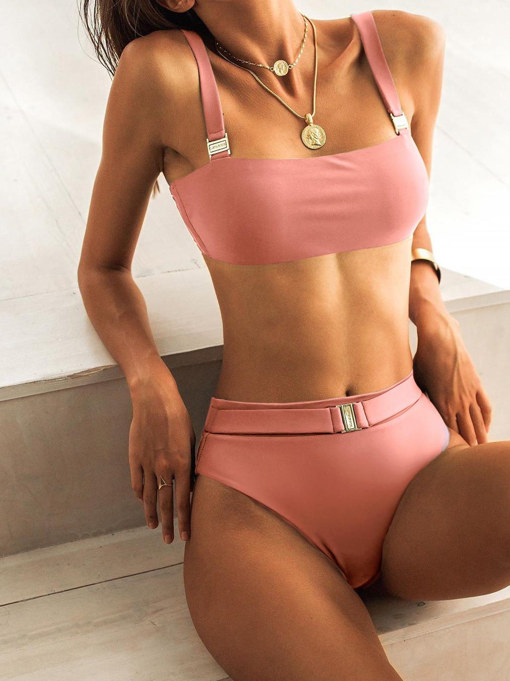 High Waist Solid Metal Buckle Ladies Bikini