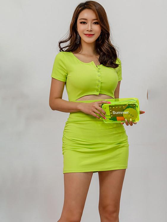 Fashion Single-breasted Short Sleeve Bodycon Dress
