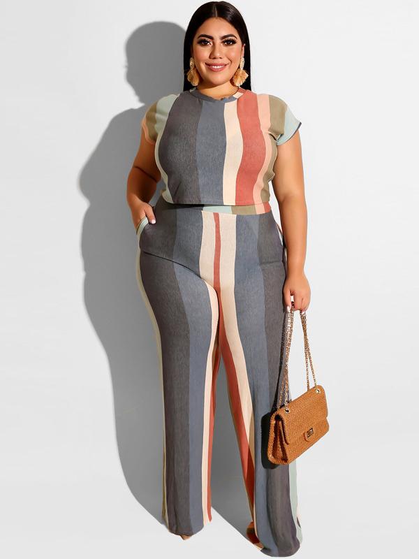 Contrast Color Striped Women Plus Size Sets