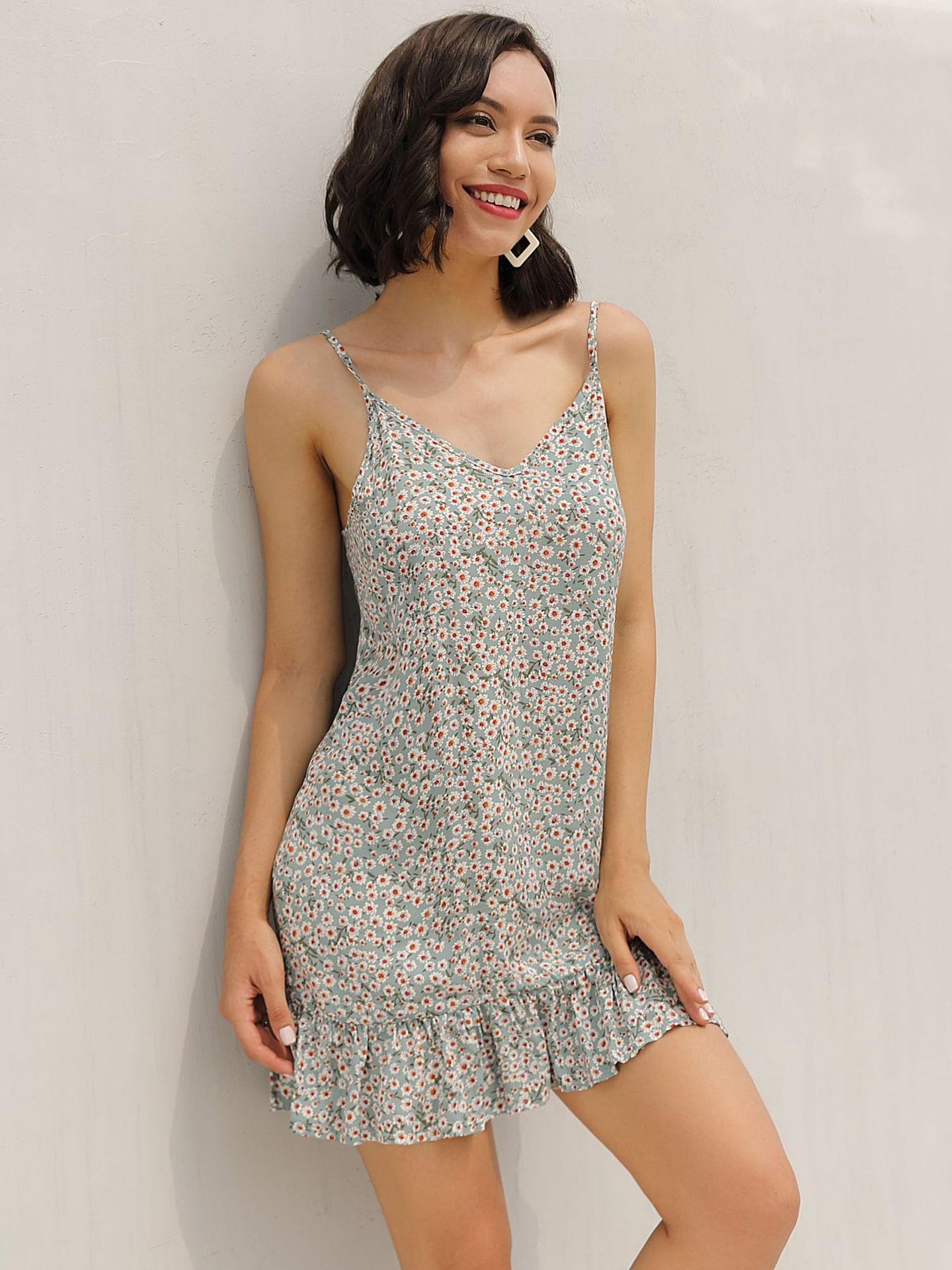 Floral Backless Ruffles Hem Strap Dress