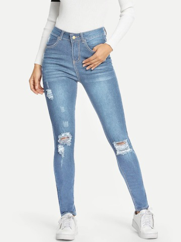 Solid Color High Waist Ripped Jeans For Women