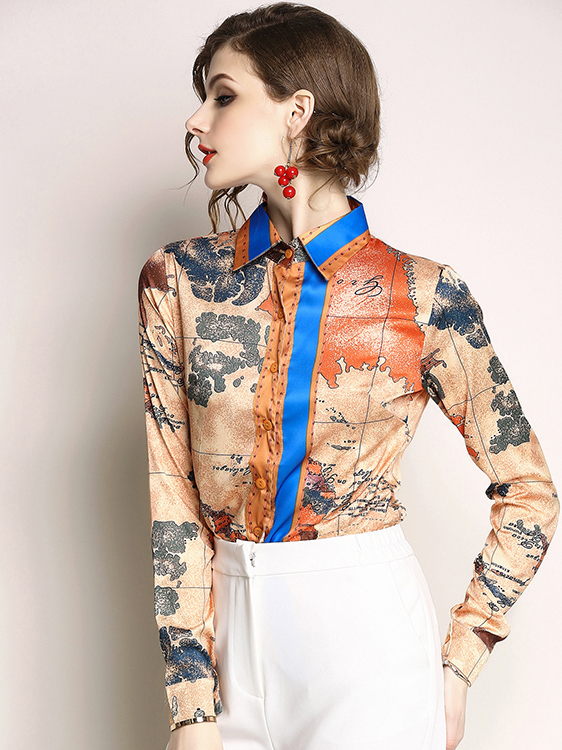 Color Block Printed Button Up Womens Blouses