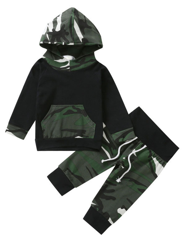 Hooded Collar Long Sleeve Camouflage Two Piece Sets