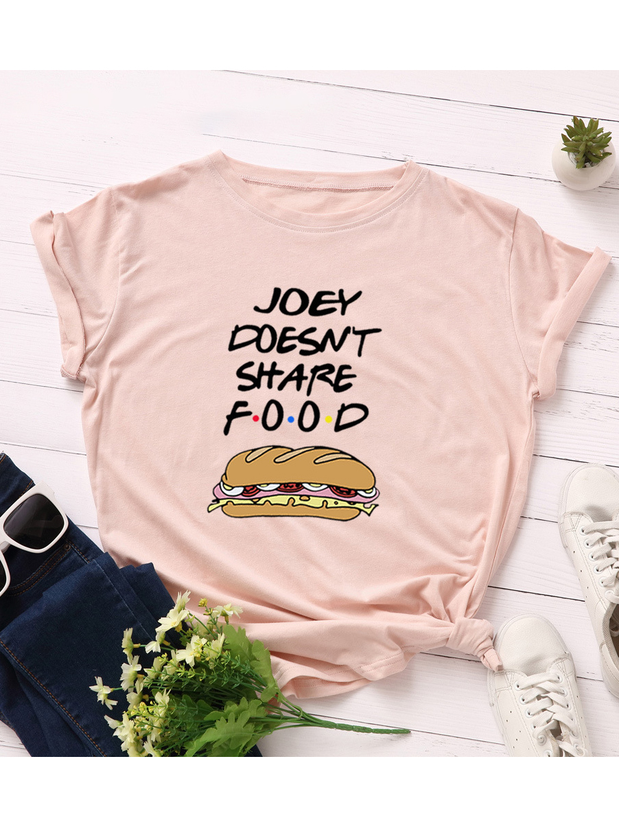 Letter Hot Dog Printed Womens t Shirts