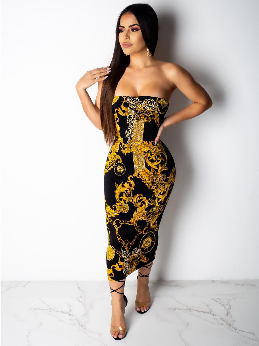 Gold Chain Printed Strapless Midi Dress