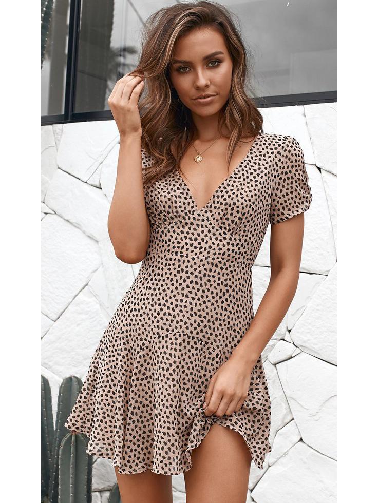 V Neck Printing Flounce Hem Short Sleeve Dress