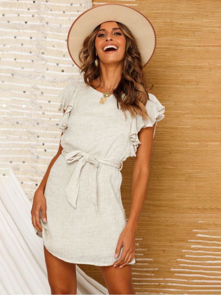 Solid Color Tie-Wrap Ruffles Sleeve Summer Dresses