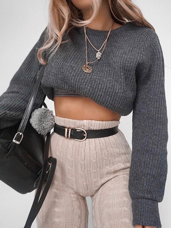 Fashion Cropped Sweater For Women