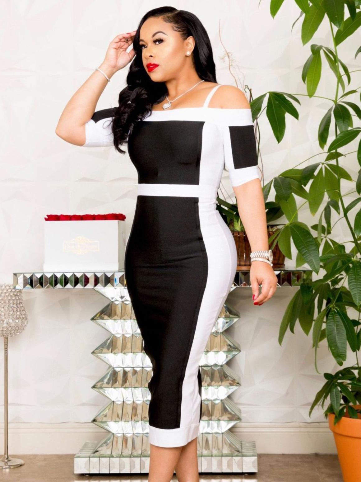 Black And White Off Shoulder Plus Size Dress