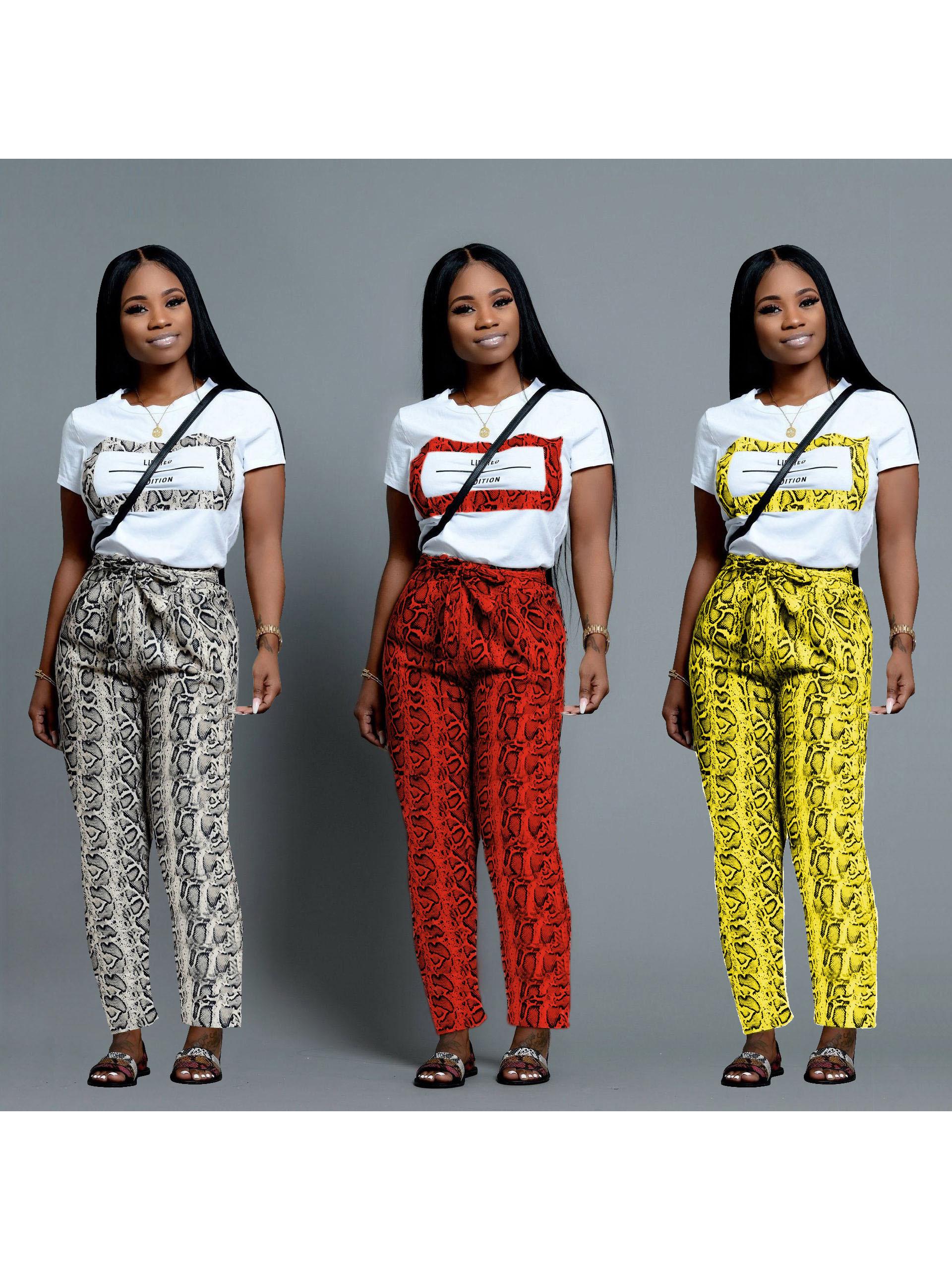Snake Printed Short Sleeve Women Sets