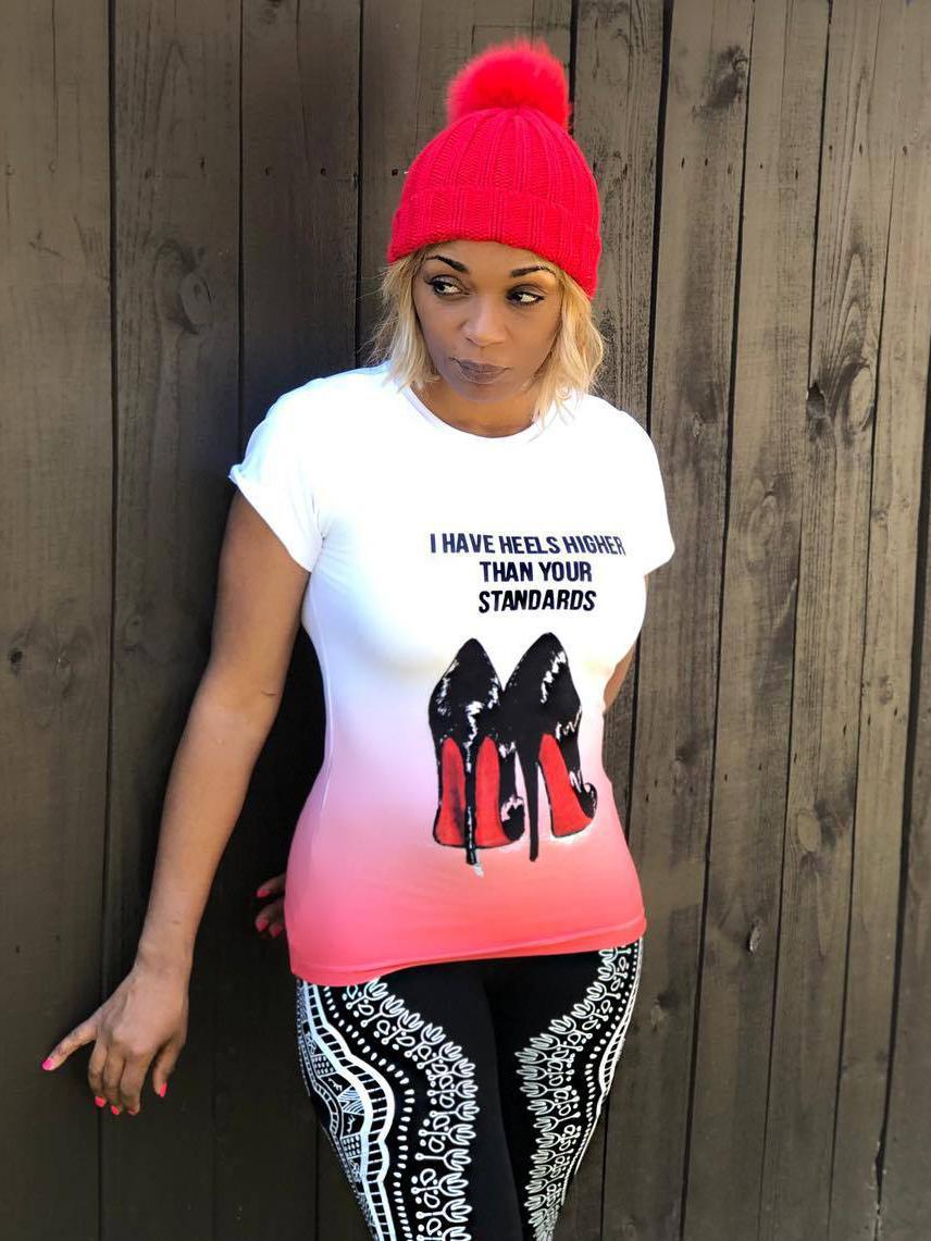 Crew Neck High Heels Print Short Sleeve Women T-shirts