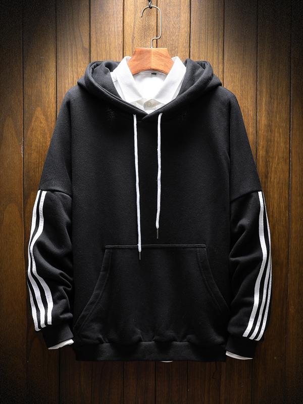 Fashion Contrast Color Long Sleeve Mens Hooded Sweatshirts