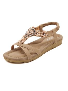 Classical Look Diamond Flower Simple Flat Sandal