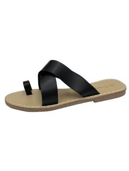 Minimalist Pu Toe Loop Slippers For Woman