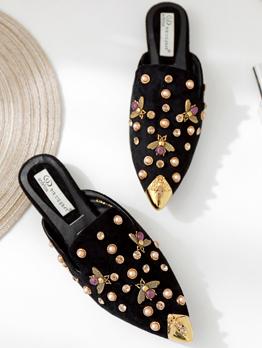 Stylish Rivet Slip On Pointed Mules Shoes