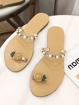 Pineapple Toe Loop Beach Tan Slippers