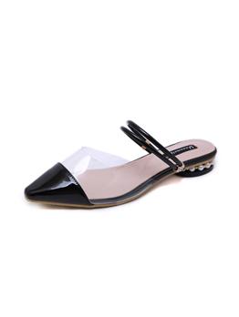 Roman Style PVC Contrast Color Beading Flat Sandals