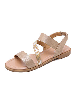 Cozy Glitter Crossed Strap Women Flat Sandals