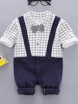 Boy Long Sleeve Plaid Baby Sleepsuits