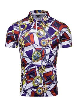 Fashion Printed Short Sleeve Polo Men Shirt
